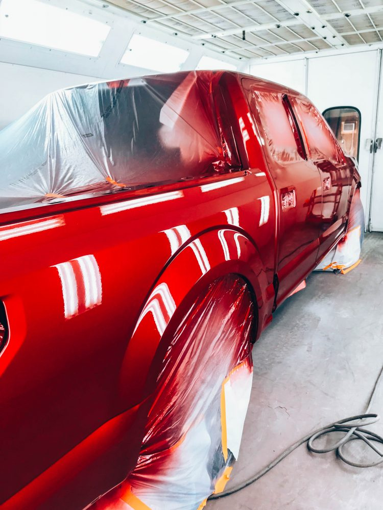 Gibbs Paint and Body-Painting Process Clear Coat Back of Truck
