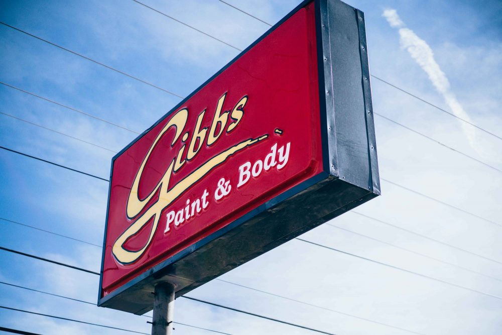Gibbs Paint and Body- Business Sign at Treadaway Location